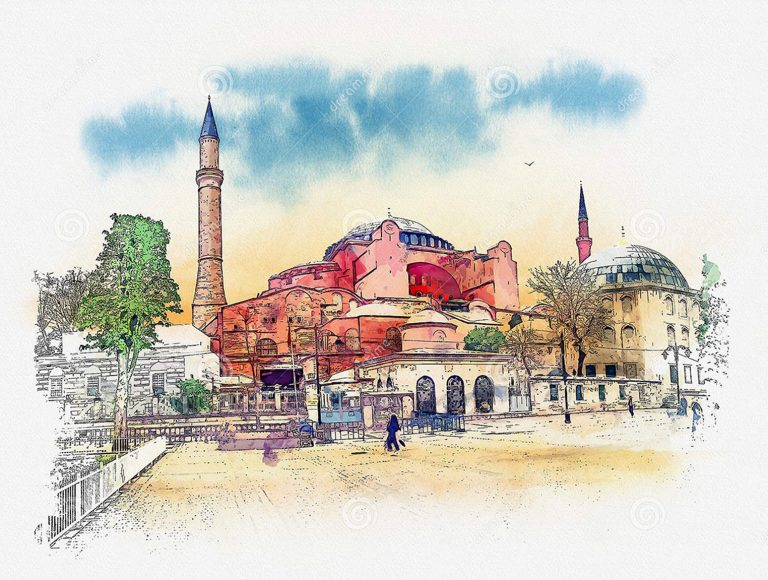 Illustraiton of Hagia Sophia in Istanbul, Turkey, Istanbul Photo Tours